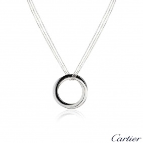 Cartier White Gold Diamond and Ceramic Trinity Necklace N3108500